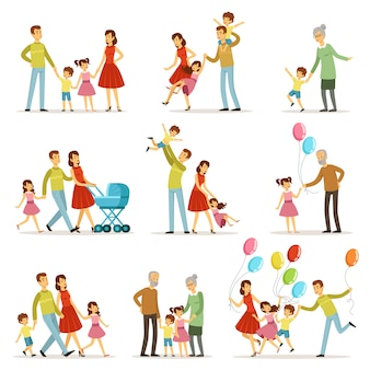 Grote en gelukkige familie met moeder, vader, grootmoeder en grootvader.