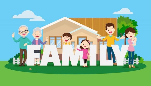 Grote en gelukkige familie op de achtergrond van het huis-concept