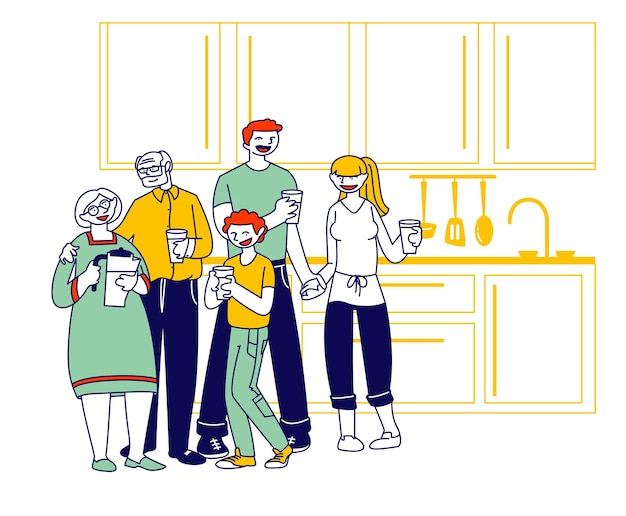 Grote en gelukkige familie van ouders, grootouders en preteenjongen staan op keuken met waterglazen die pure aqua drinken. cartoon vlakke afbeelding
