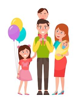 Grote en gelukkige familie