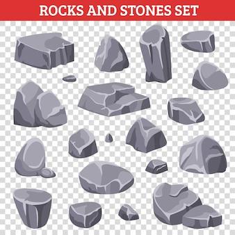 Grote en kleine grijze rotsen en stenen