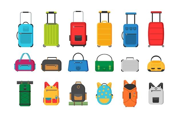 Grote en kleine koffer, handbagage, rugzak, doos, handtas. verschillende soorten tassen. plastic, metalen koffers, rugzakken, tassen voor bagage.