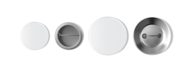 Grote en kleine lege witte badge geïsoleerd op een witte achtergrond