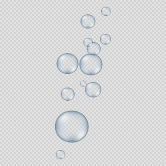 Grote en kleine ronde bubbels op transparant