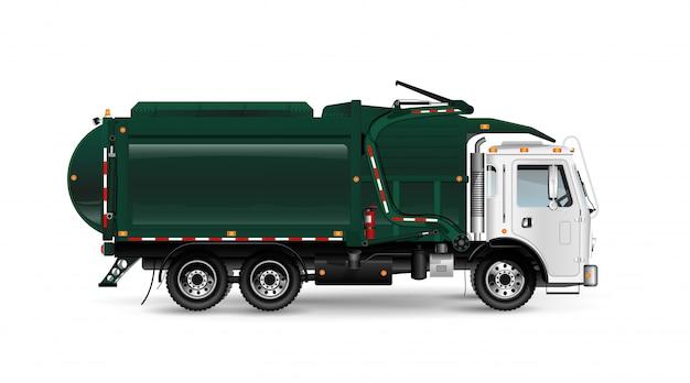 Grote en krachtige vuilniswagen in donkergroen. frontaal laden van containers. voor een artikel over het opruimen of verwijderen van afval. op witte achtergrond.