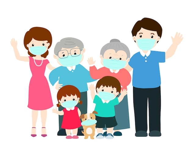 Grote familie die chirurgisch masker draagt om te voorkomen.