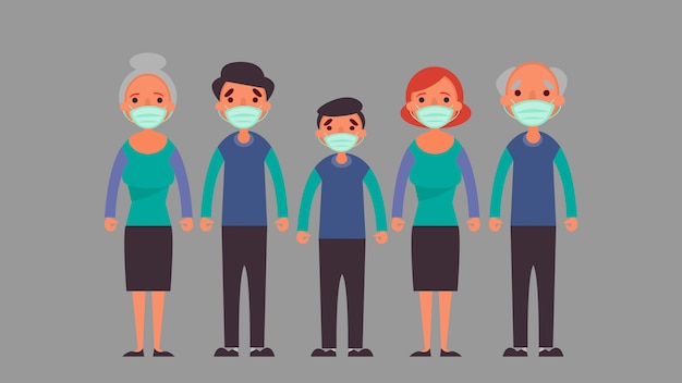 ฺ grote familie die een beschermend medisch masker draagt verminder de risico-infectie en het ziekteconcept in een crisissituatie die we allemaal over de hele wereld ervaren als gevolg van het coronavirus coronavirus 2019-nco