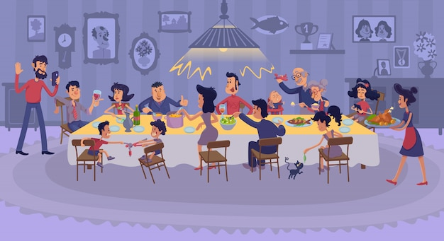 Grote familie die vlakke illustratie verzamelen. gelukkige familieleden die feestelijk dankzeggingsdiner eten.