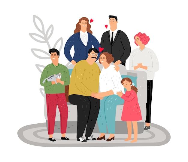 Grote familie. gelukkige moeder, vader en kinderen.