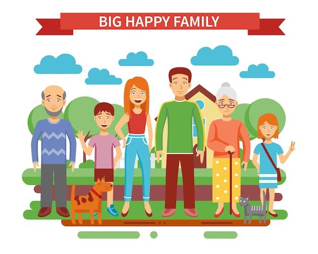 Grote familie illustratie