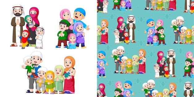 Grote familie met veel kinderen, patroon en illustratie set