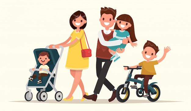 Grote familie op de wandeling. moeder met baby in een kinderwagen, vader houdt dochter in haar armen en zoon rijdt op een fiets. illustratie