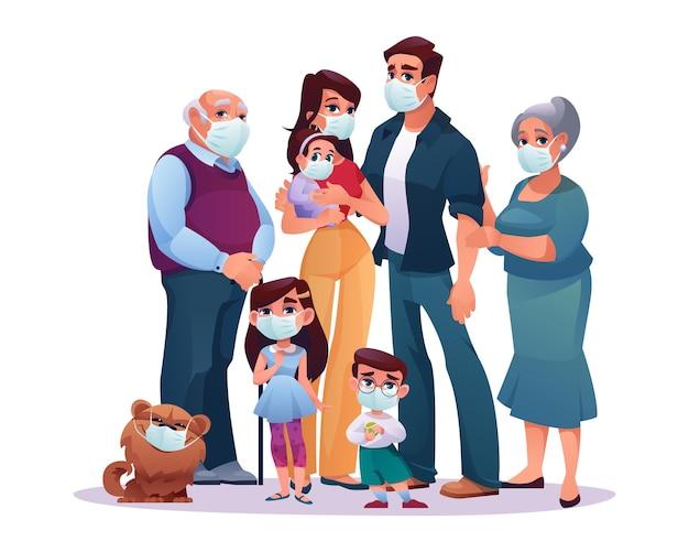 Grote familie ouders grootouders en kinderen in beschermende medische maskers geïsoleerd covid blijf veilig