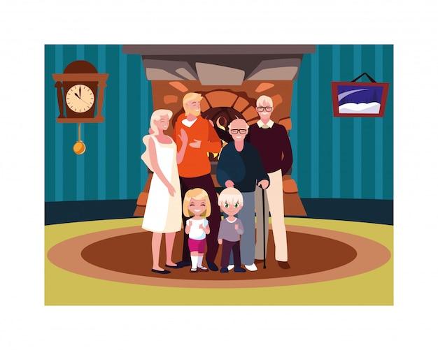 Grote familie samen in woonkamer, drie generaties