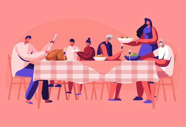 Grote familie thanksgiving viering diner rond tafel met eten