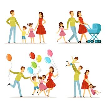Grote familie. vader, zwangere moeder, kleine baby. vector tekenset.