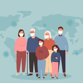 Grote familie van moeder, vader, oma en zoon en dochter die medische maskers dragen tijdens coronavirus op de achtergrond met verspreid virus op de wereldkaart. covid-19-concept van afsluiting. vector illustratie.