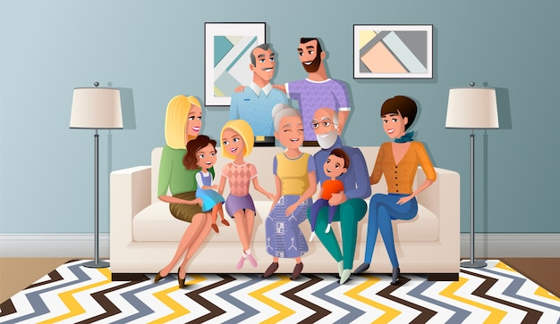 Grote familie verzameld cartoon vector