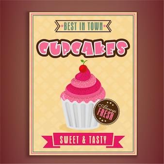 Grote folder sjabloon met heerlijke cupcake