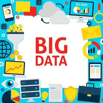 Grote gegevens papier sjabloon. vector illustratie vlakke stijl bedrijfsconcept.