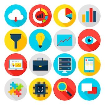 Grote gegevens plat pictogrammen. vectorillustratie. bedrijfsstatistieken. set cirkel items met lange schaduw.