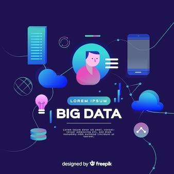 Grote gegevens platte achtergrond