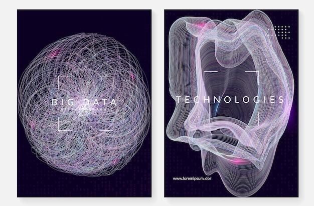 Grote gegevenssamenvatting. digitale technische achtergrond. kunstmatige intelligentie en diep leerconcept. tech visual voor energiesjabloon. fractal big data abstracte achtergrond.