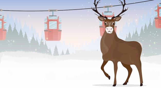 Grote gehoornde herten. kabelbaan met aanhangers in het winterbos. kabelbaan. het bos is met herten en sneeuw. cartoon-stijl. vector illustratie.