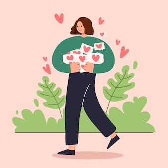 Grote geïsoleerde cartoon van gelukkig jong meisje verliefd, delen en zorgzame liefde, 3d illustratie
