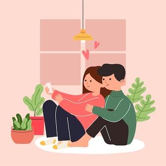 Grote geïsoleerde cartoon van jong meisje en jongen verliefd, paar delen en zorgzame liefde, 3d illustratie