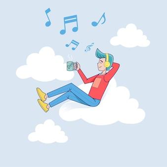 Grote geïsoleerde man luisteren naar muziek op hoofdtelefoon aangesloten op cloud server met koffie. vector illustratie stripfiguur