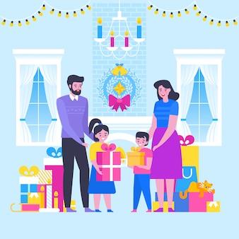 Grote gelukkige familie prettige kerstdagen en gelukkig nieuw