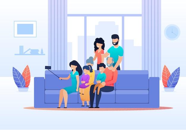 Grote gezinsleden verzameld om selfie te maken
