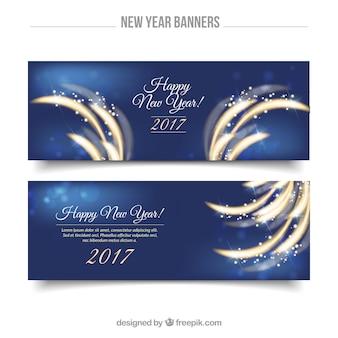 Grote glanzende banners voor het nieuwe jaar