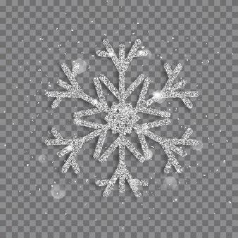 Grote glanzende kerstsneeuwvlok gemaakt van zilveren glitters met glitters en schitteringen