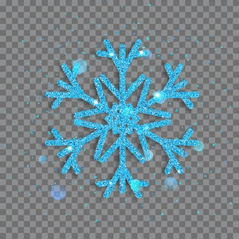 Grote glanzende sneeuwvlok gemaakt van lichtblauwe glitters met glitters en schitteringen