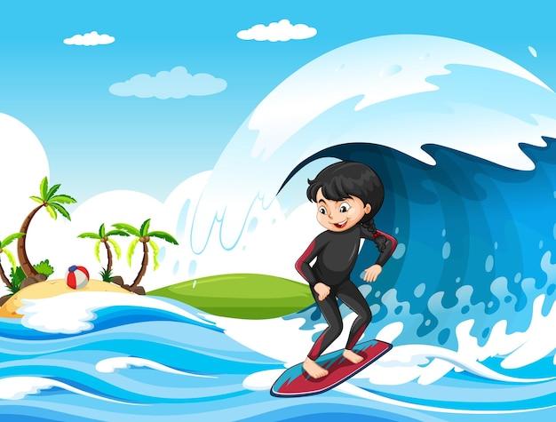 Grote golf in de oceaanscène met meisje dat op een surfplank staat