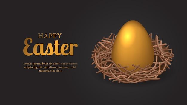 Grote gouden 3d-eierdecoratie voor pasen