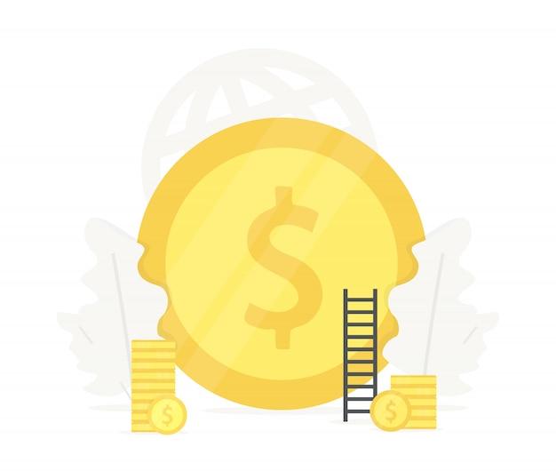 Grote gouden munt illustratie. investering in bedrijfspresentaties voor startups
