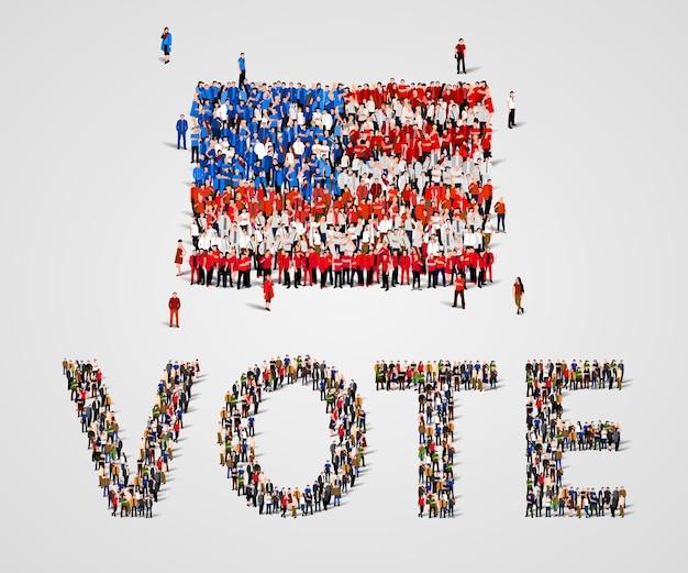 Grote groep mensen in de vorm van de vlag van de verenigde staten en het stemwoord