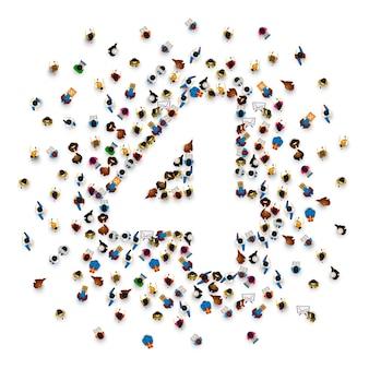 Grote groep mensen in de vorm van nummer 4 vier. mensen lettertype. vector illustratie