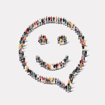 Grote groep mensen in de vorm van praatjebellen, glimlach.