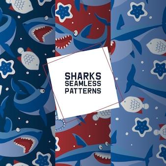 Grote haaien set van naadloze patronen