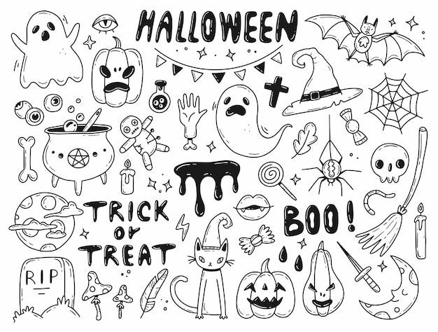 Grote halloween-krabbelset vectorillustratie met geïsoleerde elementen