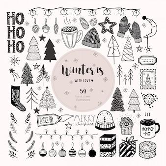 Grote hand getrokken kerstmis en nieuwjaar vector set.