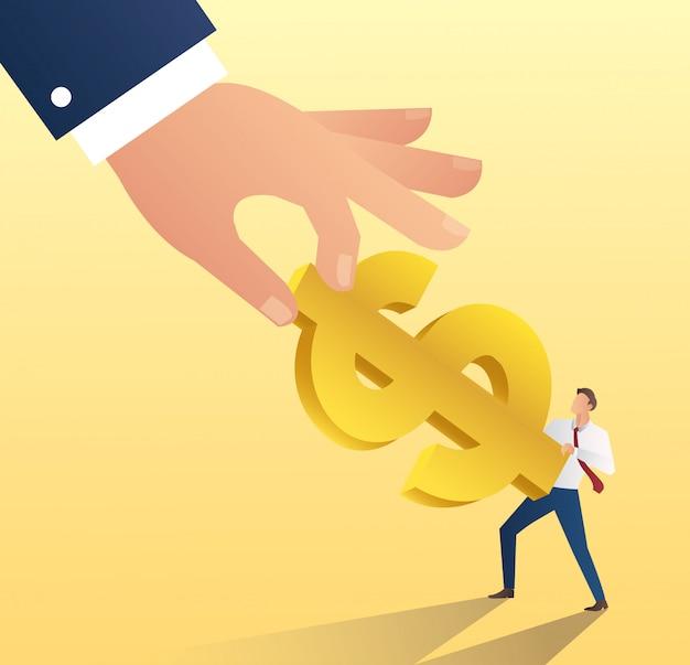 Grote hand houden dollar pictogram met zakenman