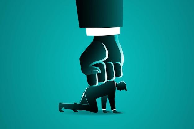 Grote handdruk een zakenman van boven, symboliseert onderdrukking in de werkgelegenheid