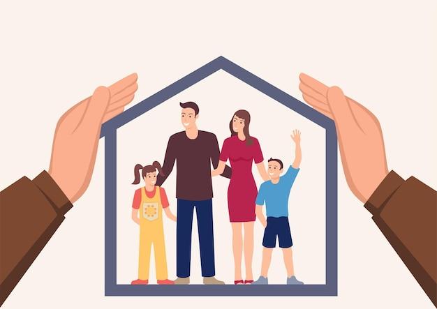 Grote handen die een huis bedekken met een gelukkig gezin binnen het verzekerings- en zorgconcept