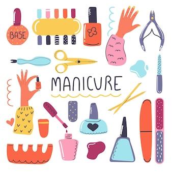 Grote handgetekende set cosmetische producten voor nagelverzorging manicure tools nagellak nagelvijl nagel