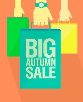 Grote herfst verkoop vlakke stijl vector poster ontwerp handen met papieren boodschappentassen vintage kleuren